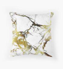 Gold-White Marble Impress Throw Pillow