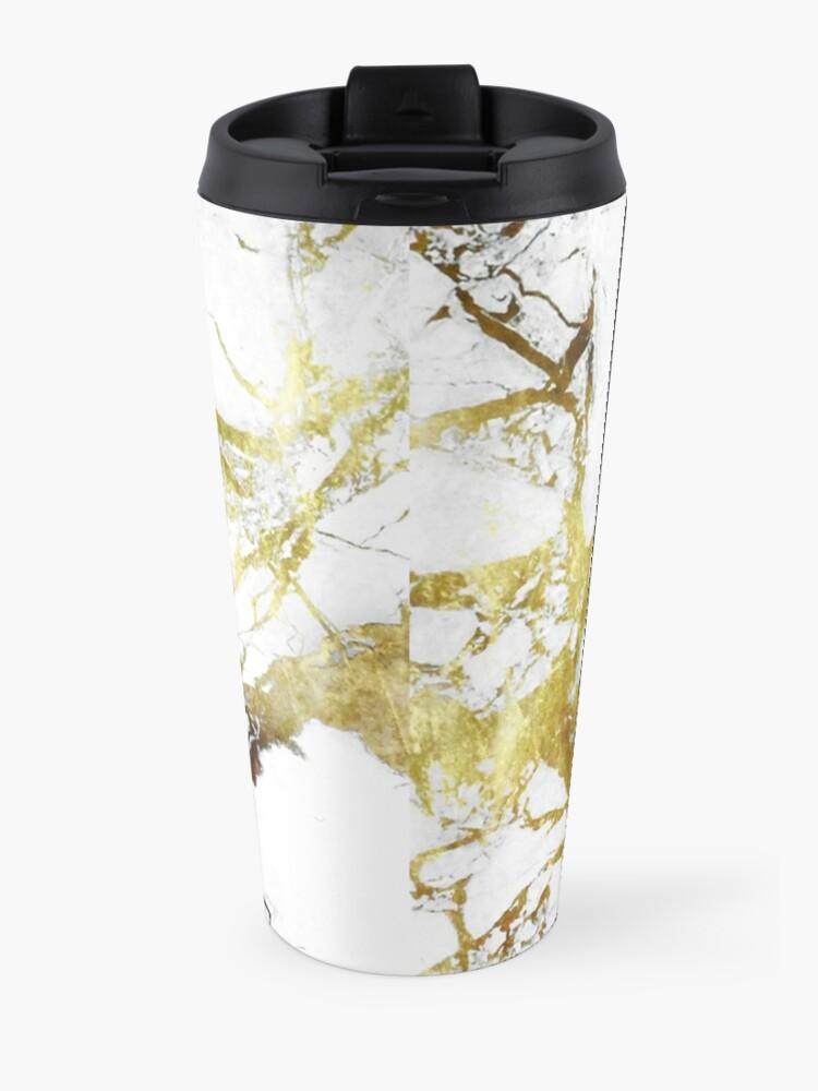 Alternate view of Gold-White Marble Impress Travel Mug