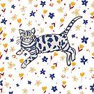 Cat in the garden by Michelle Walker