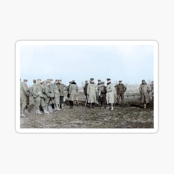 British and German troops in the Christmas Truce, 1914. Sticker