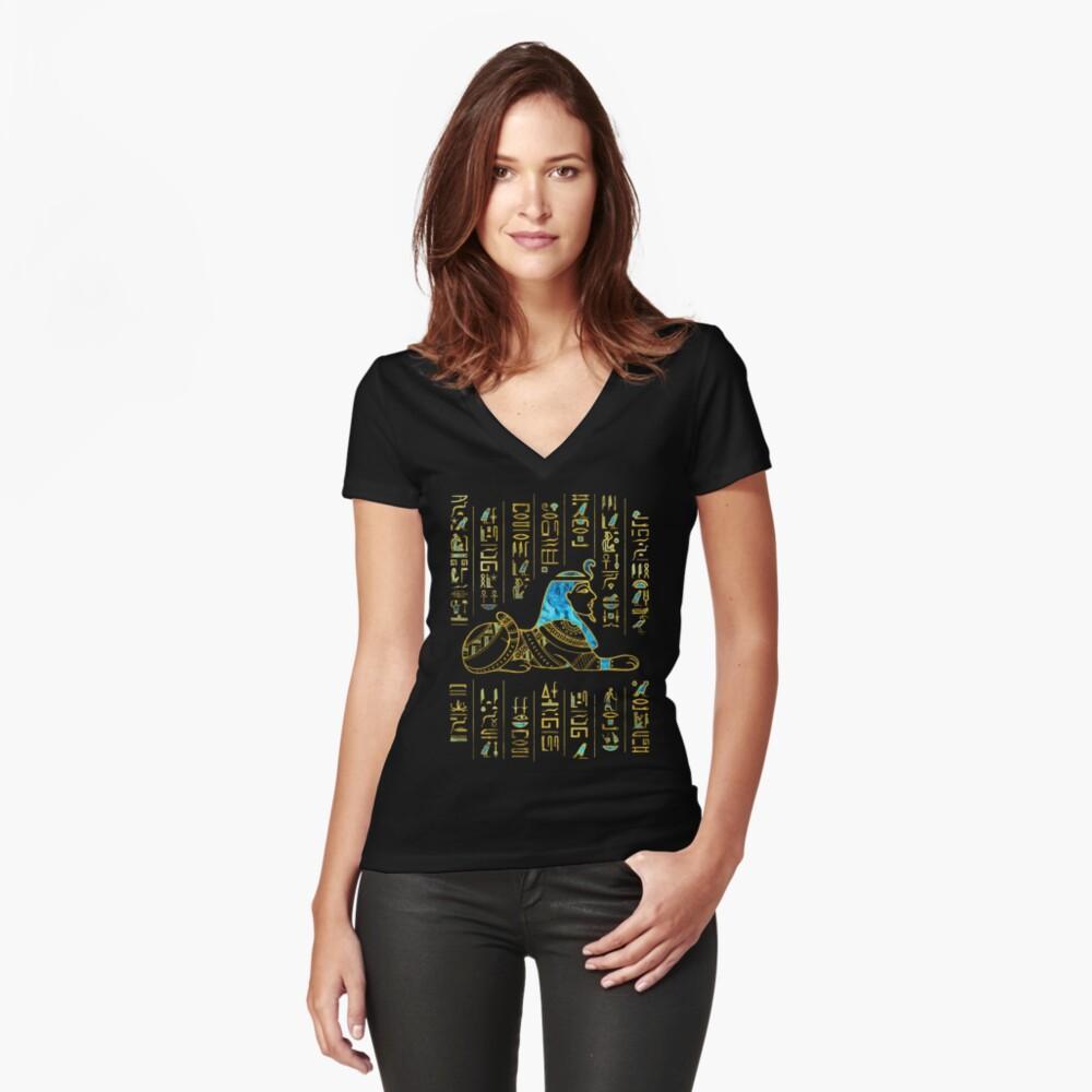 Ägyptische Sphinx auf Hieroglyphen Blauer Kristall und Gold Tailliertes T-Shirt mit V-Ausschnitt
