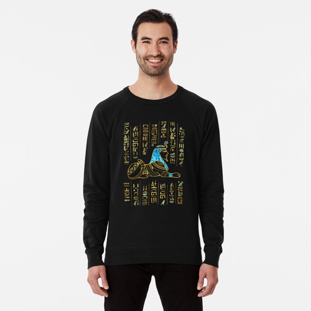 Ägyptische Sphinx auf Hieroglyphen Blauer Kristall und Gold Leichter Pullover