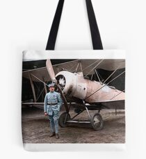 French pilot Justine Usse with his Sopwith Camel, 1917 Tote Bag
