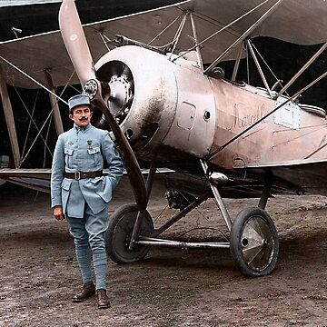 French pilot Justine Usse with his Sopwith Camel, 1917 by cassowaryprods