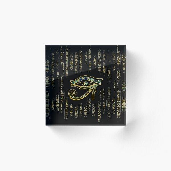 Egyptian Eye of Horus  on hieroglyphics gold and marble Acrylic Block