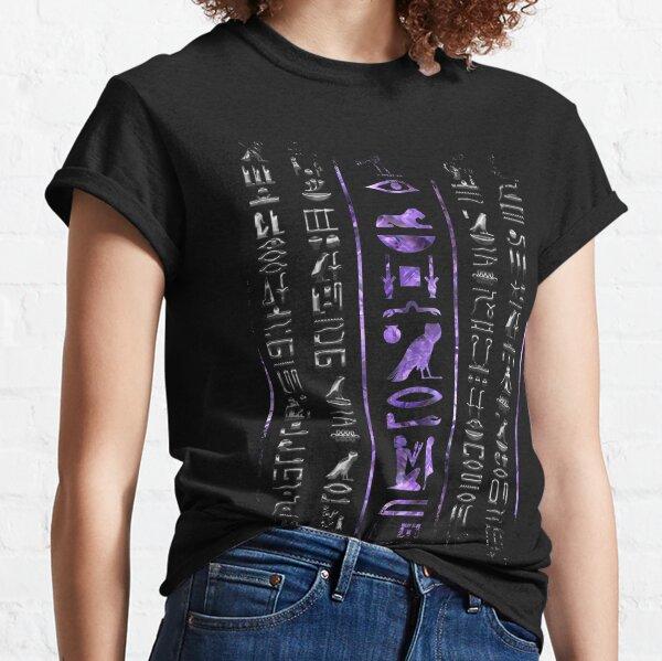 Amethyst and Silver Egyptian hieroglyphics pattern Classic T-Shirt