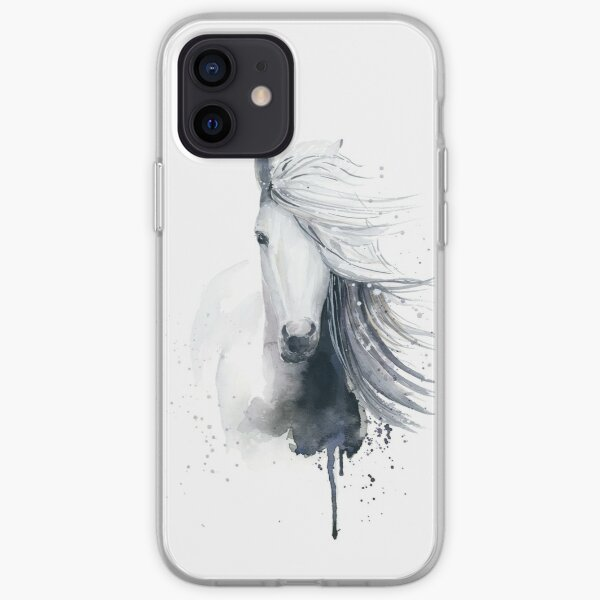 White Horse in Watercolor iPhone Soft Case