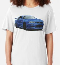 Nissan R34 GTR Skyline blau Slim Fit T-Shirt