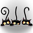 Three Naughty Playful Kitties by BluedarkArt
