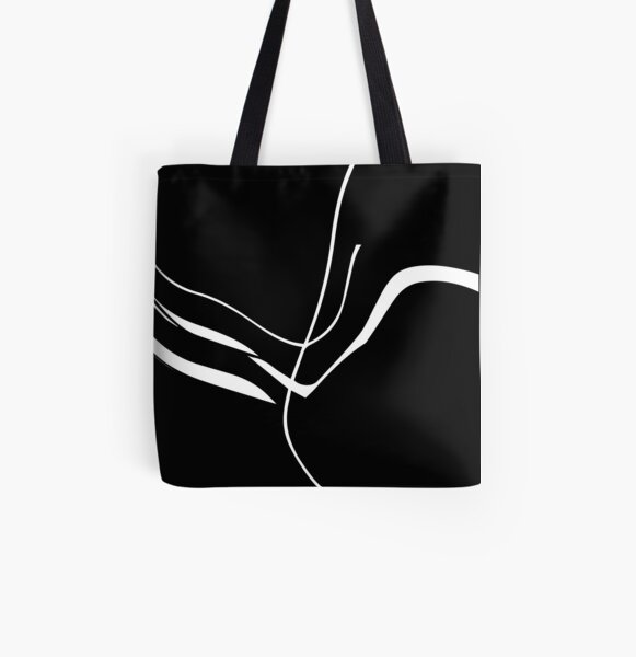 Organic No. 8 White on Black Minimalism #artprints #redbubble #decor #design All Over Print Tote Bag