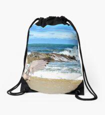 Seagull at the Ocean Drawstring Bag