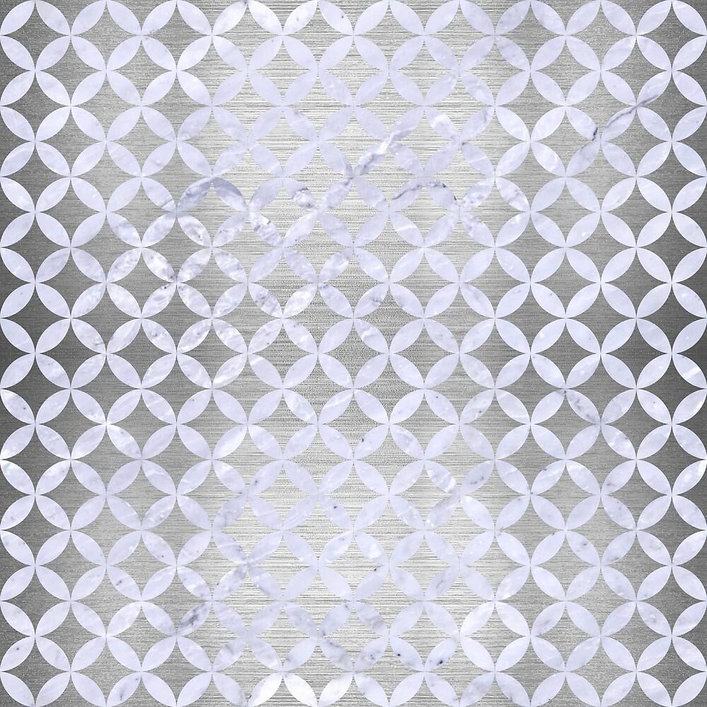 CIRCLES3 WHITE MARBLE & SILVER BRUSHED METAL by johnhunternance