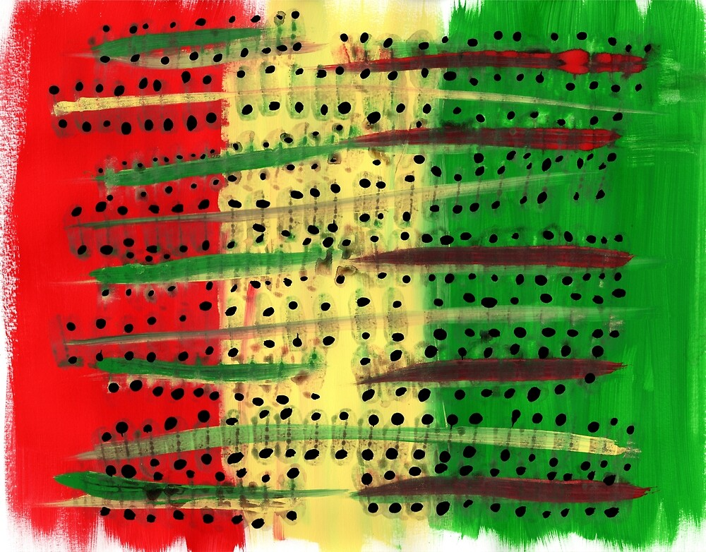 Red, Yellow, Green Abstract Acrylic by Somewhither