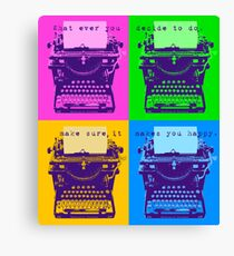 Happy Quote on Old Remington 10 Typewriter Pop Art Style Canvas Print