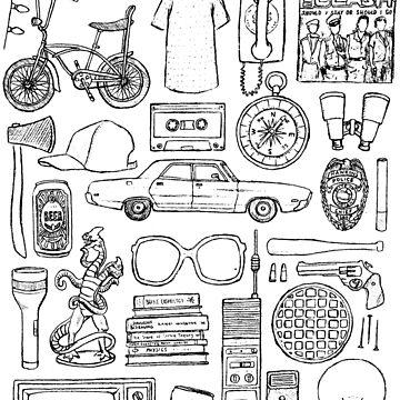 STRANGER THINGS Objects Minimal Illustration Drawing Art by flatlaydesign