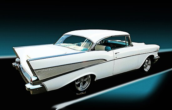 57 chevy bel air hardtop in silver and white posters by