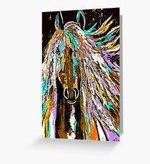Horse Abstract Brown Blue Gold  Greeting Card