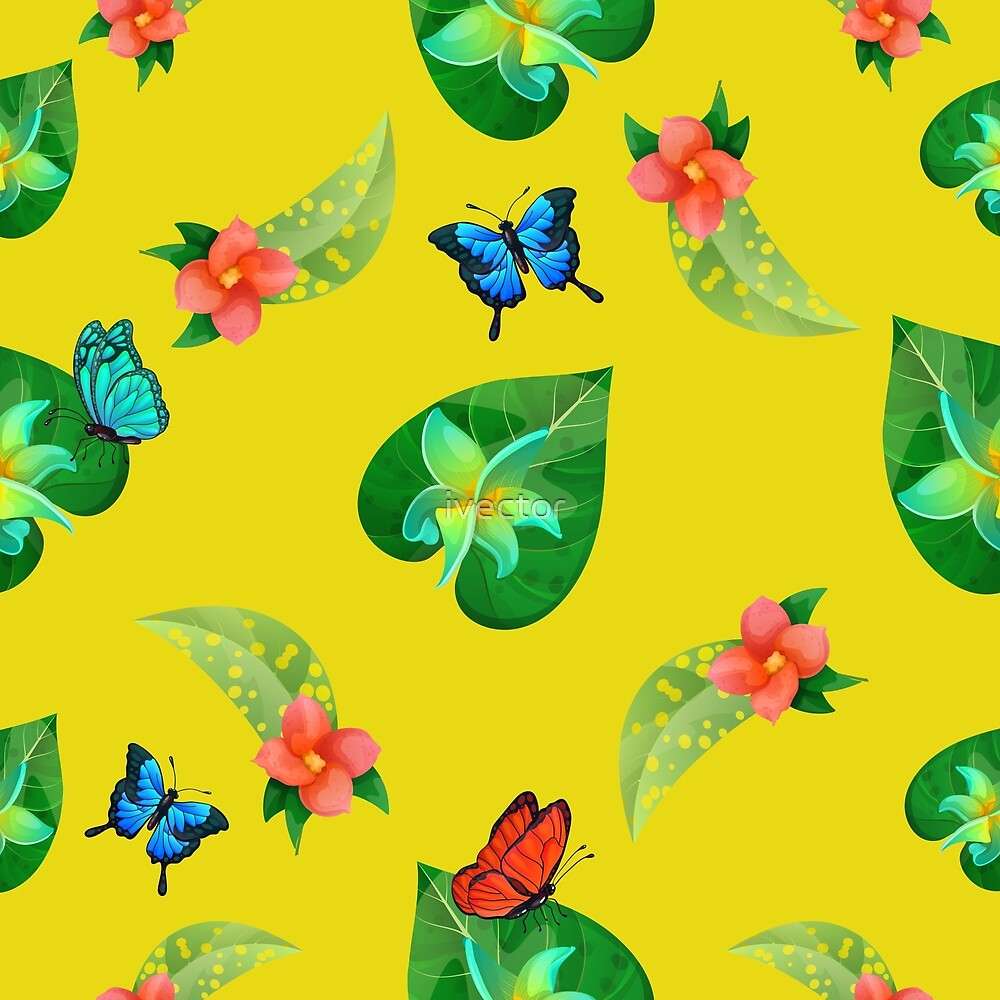Tropical Flowers. Floral Background. Flowers Seamless Pattern. Exotic Butterflies.  by ivector