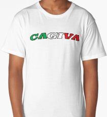 Cagiva text green white red italian Long T-Shirt