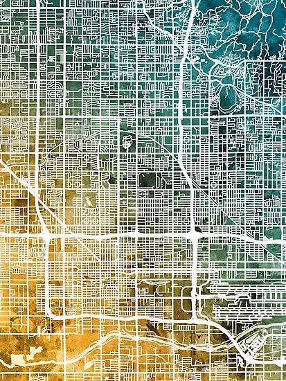 Phoenix Arizona City Map by Michael Tompsett