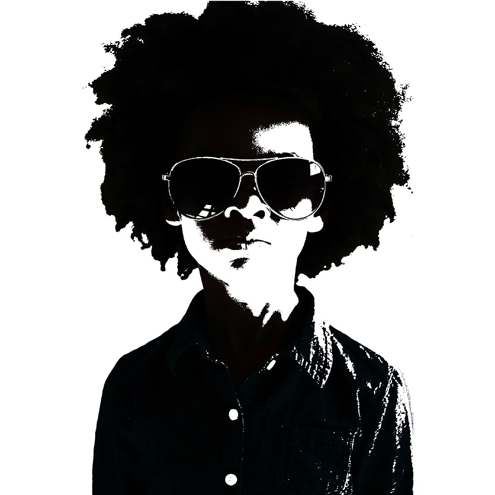 Cool Kid with Afro and Sunglasses by NikandCo