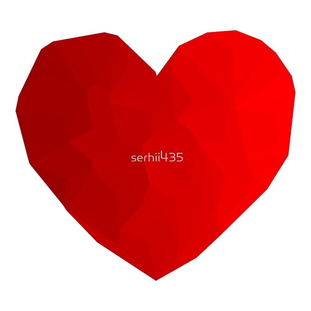 Heart red triangulation by serhii435