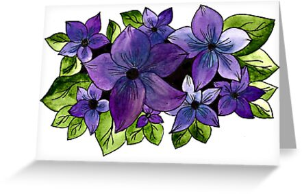 Purple And Blue Floral by MaggieMart
