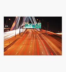 Zakim Bridge Traffic Photographic Print