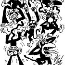 Crazy Monkeys by GroglioArt