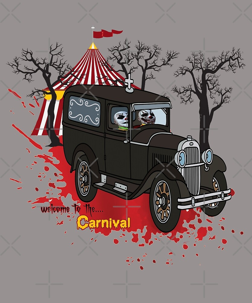 Welcome To The Carnival - Scary Clowns In Retro Car by Jecolds