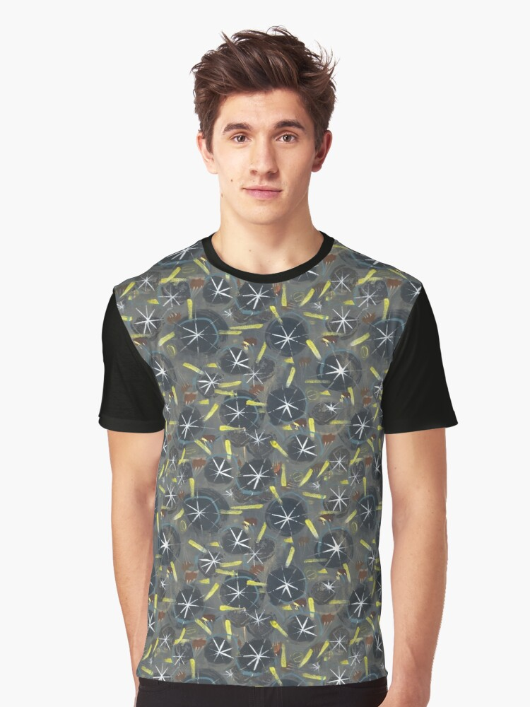 Fifties inspired Abstract Star Burst - yellow, black and grey pattern Graphic T-Shirt Front
