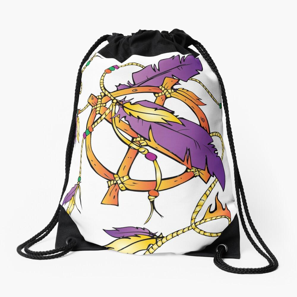 Feather Dream Wheel Drawstring Bag