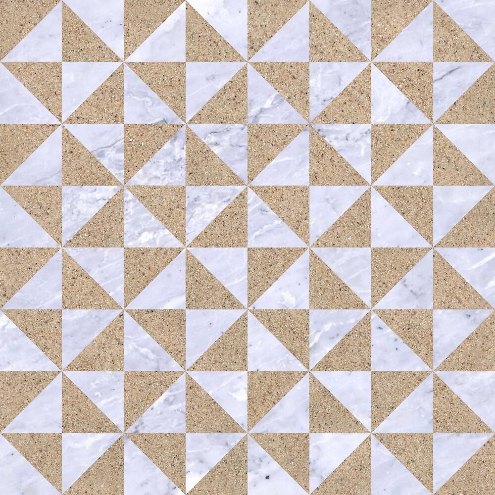 TRIANGLE1 WHITE MARBLE & SAND by johnhunternance