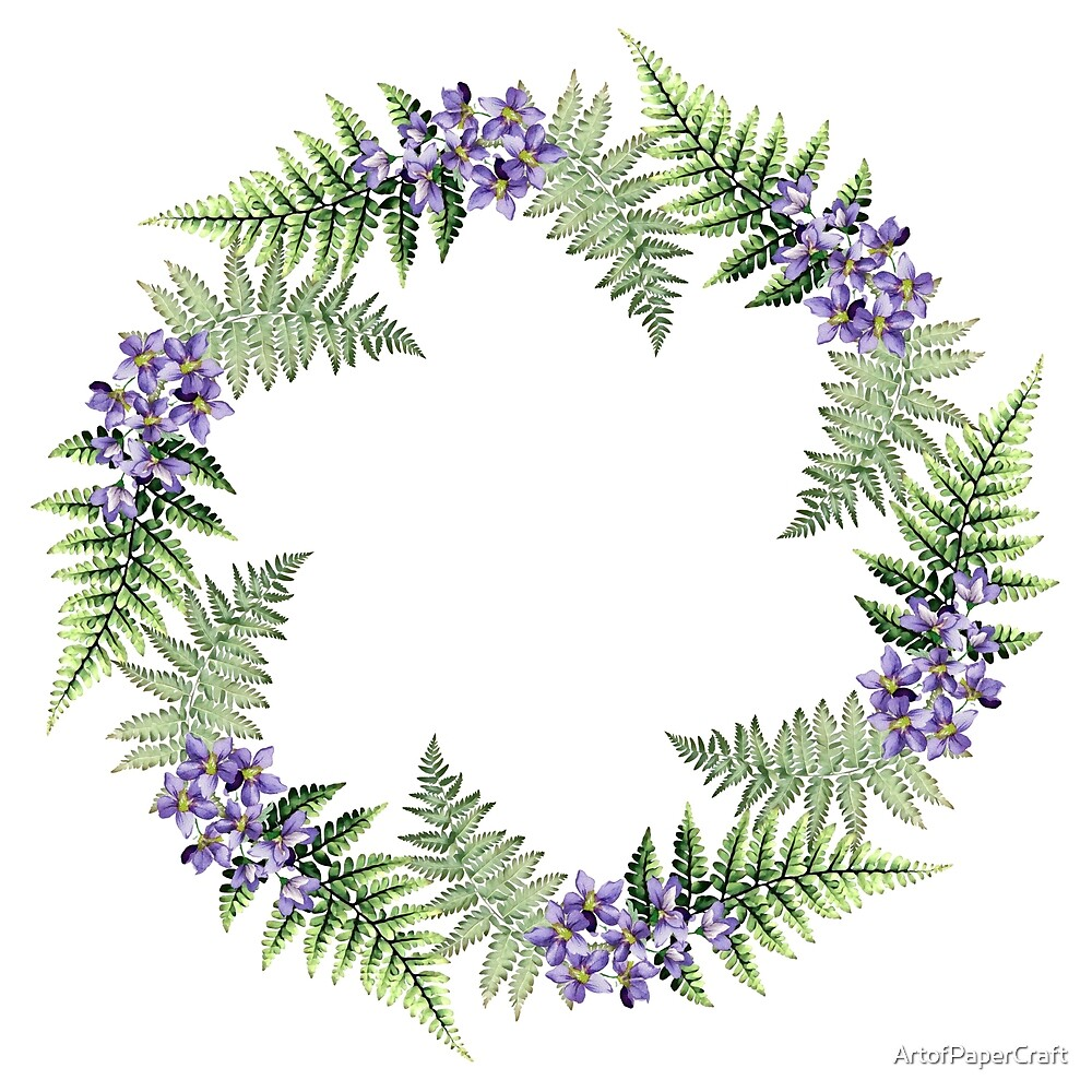 Wild Violets and Ferns Woodland Wreath by ArtofPaperCraft