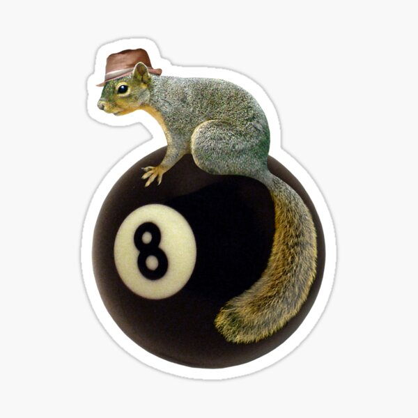 Squirrel on the 8 Ball Sticker