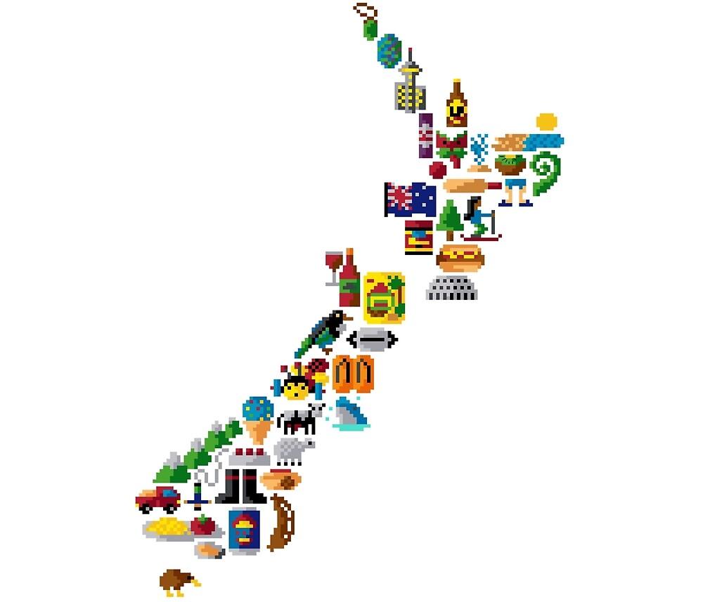 New Zealand Pixel Art / Icon Map Pixel Art by PixlPrints