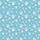 Cute Blue Paw Prints Pattern by Adrienn Ecsedi