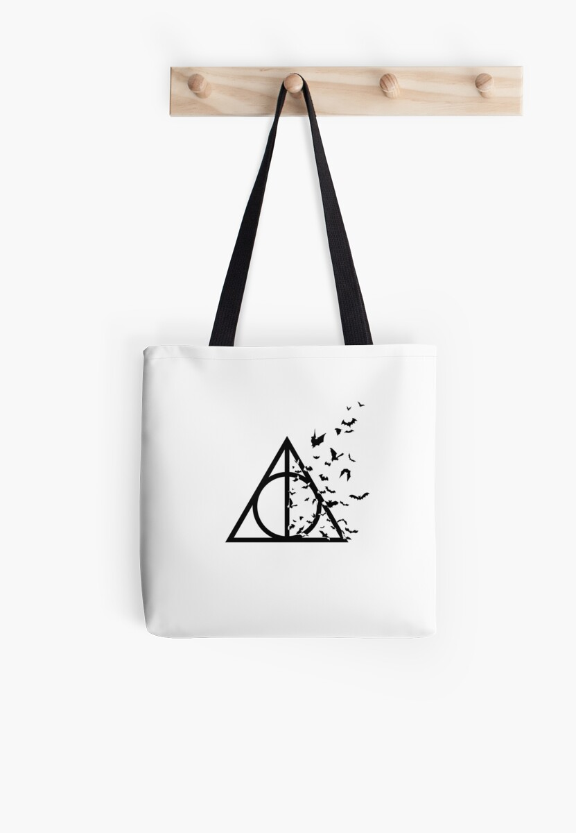 HP Hallows with bats (black) - wand, cloak, stone by Vane22april