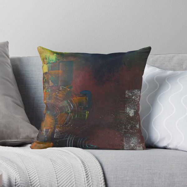 Moody Red Throw Pillow