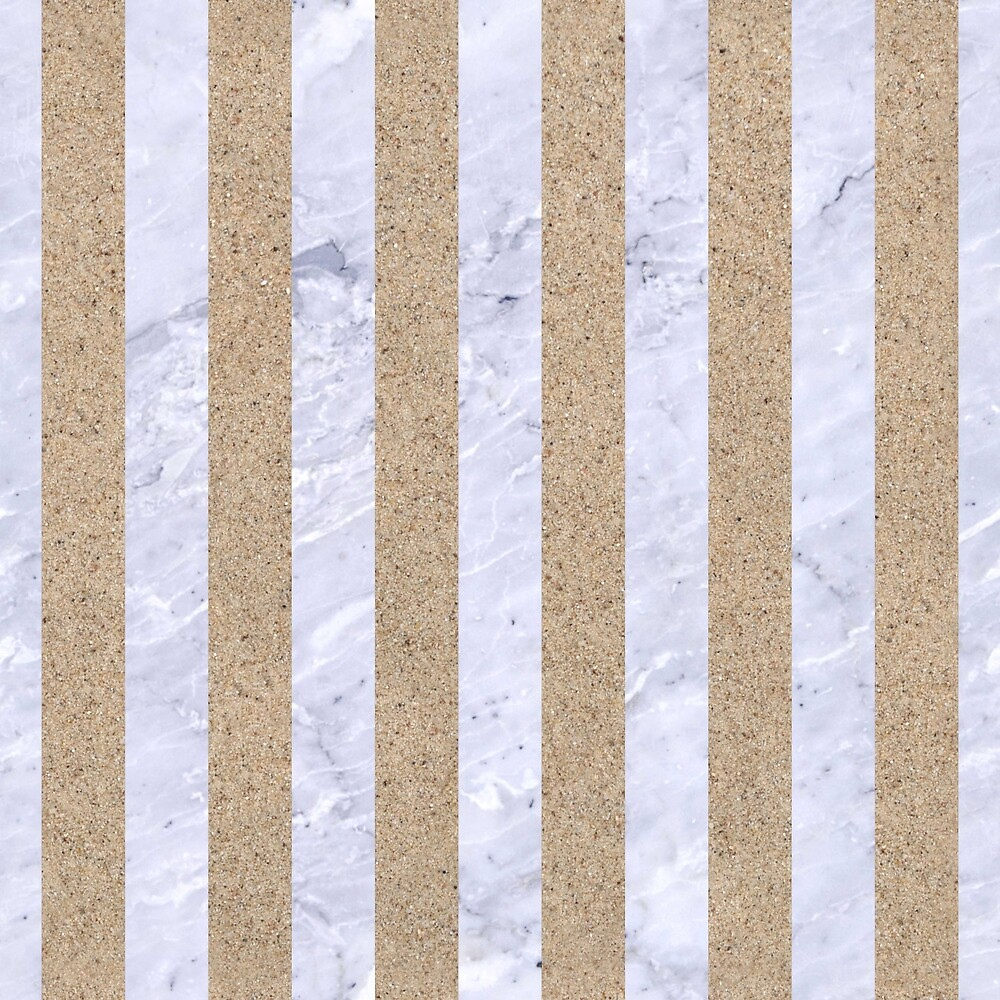 STRIPES1 WHITE MARBLE & SAND by johnhunternance