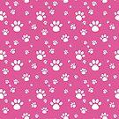 Pink Animal Paw Pattern by Adrienn Ecsedi