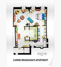 Carrie Bradshaw's Apartment Floorplan v.2 Poster