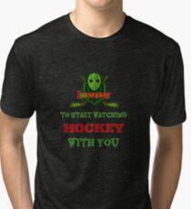 Hockey Funny Tees T-shirt for Men Women Adult  Tri-blend T-Shirt
