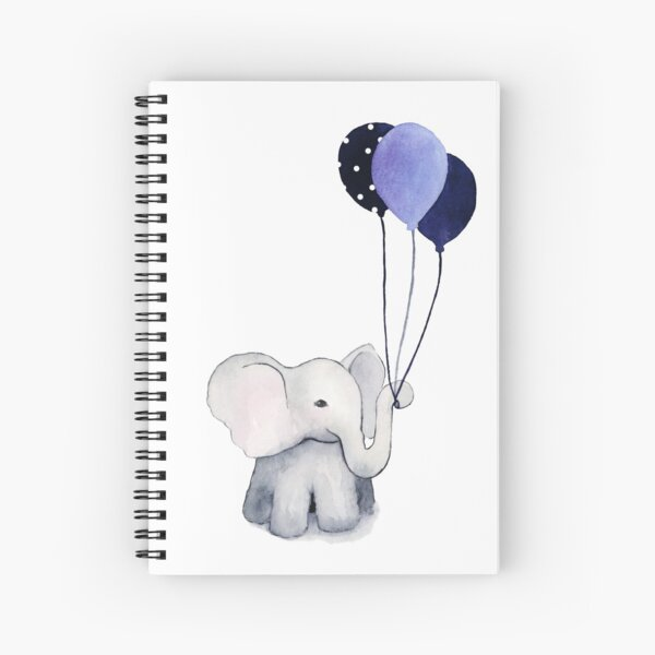 Elephant with Balloons Spiral Notebook