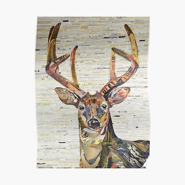 Whitetail Deer or Buck Collage Art by C.E. White Poster
