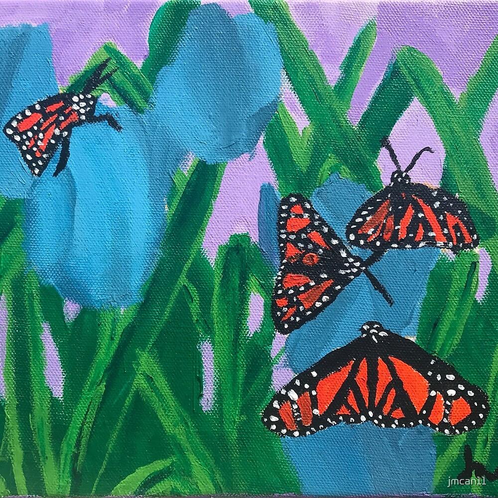 Monarch Butterflies Blue Tulips by jmcan11