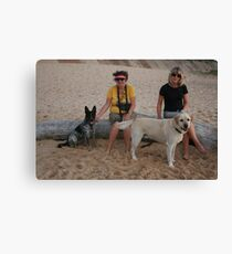 6. Kay & Tracey with Labrador & Cross Kelpie Blue Healer Canvas Print