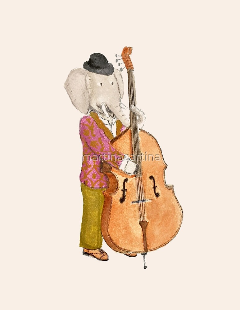 Mr. Elephant plays the contrabass by martinacartina