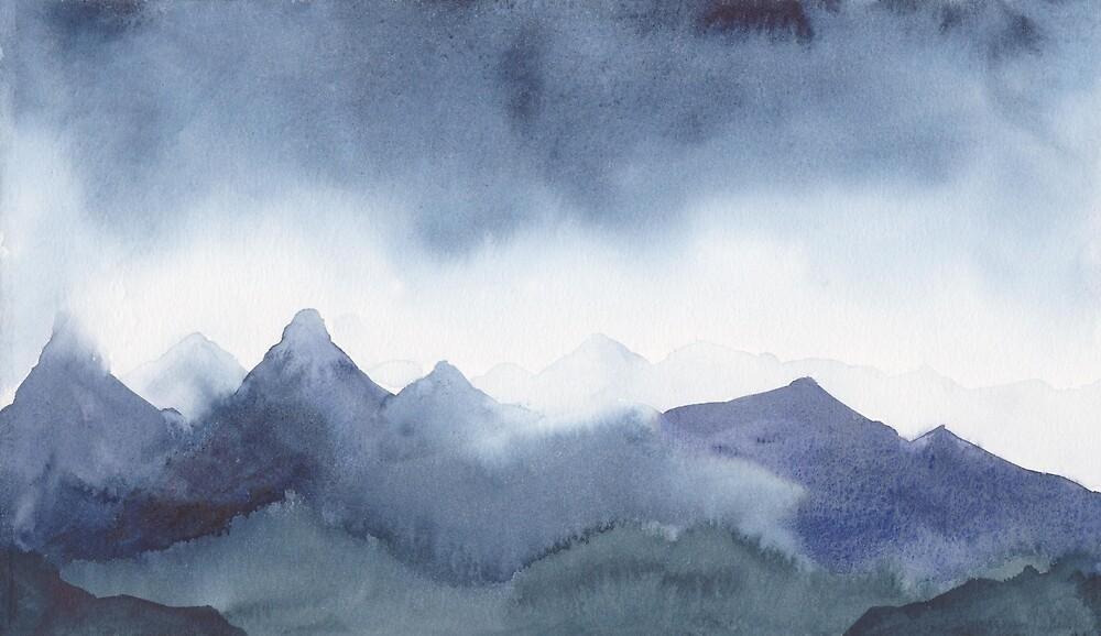 Indigo Mountains by Akwarelki
