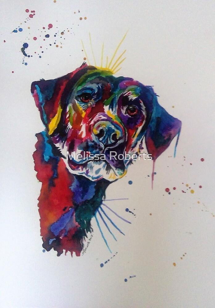 Rainbow labrador dog canine animal painting by Melissa Roberts